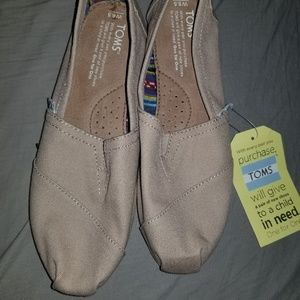 Toms natural canvas slide shoes
